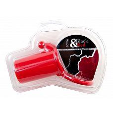 Красная силиконовая насадка на пенис  Силиконовая насадка. С кольцом для крепления и клиторальной стимуляцией. С орнаментом.