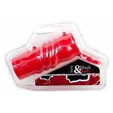 Красная силиконовая насадка с кольцом  Силиконовая насадка. С кольцом для крепления и клиторальной стимуляцией. С орнаментом.