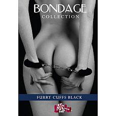 Чёрные наручники с мехом BONDAGE  Черные наручники с мехом универсального Размера, отлично подходят для запястий рук или для лодыжек Ваших сексуальных ножек.
