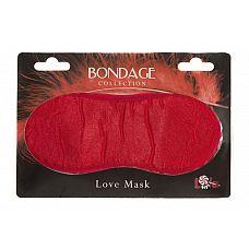 Красная маска на глаза BONDAGE   Маска на глаза выполнена в красном цвете из плотной ткани (спандекс и хлопок) очень мягкой и приятной на ощупь.