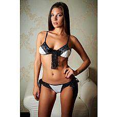 Очаровательный комплект белья Mirabelle   Комплект атласного белого белья с ажурными черными повязками.