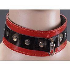 Черно-красный лаковый ошейник  В БСДМ-практике ошейники используются не только в качестве красивого аксессуара, но и для подчинения «нижнего», используется в качестве связующего элемента бандажа.