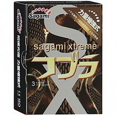 Суженные к кончику презервативы Sagami Xtreme COBRA - 3 шт.  Это уникальные презервативы, сочетающие в себе гладкую текстуру и необычную сужающуюся к основанию форму.