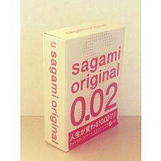 Ультратонкие презервативы Sagami Original - 3 шт.  Полиуретановые ультратонкие презервативы (0,02 мм).