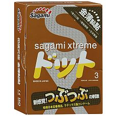 Презервативы Sagami Xtreme FEEL UP с точечной текстурой и линиями прилегания - 3 шт.  Чтобы любимая назвала секс фееричным, не обязательно активно двигаться, сдерживая себя.