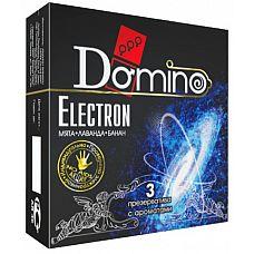 Ароматизированные презервативы Domino Electron - 3 шт.  Гладкие презервативы Domino Electron с притягательными ароматами лаванды, мяты и банана усилят притяжение между вами.