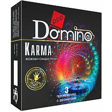 Ароматизированные презервативы Domino Karma - 3 шт.  Пьянящие ароматы жожоба, розы и сандала№ Какой бы ароматизированный кондом Domino Karma вы бы ни выбрали, сегодня вас и вашу партнёршу ждёт море удовольствия!  ЗППП, незапланированная беременность№ Забудьте! Эти презервативы гарантируют вам надёжную защиту от последствий плотской любви.