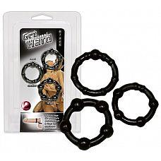 Набор из трех черных эрекционных колец  Набор черных эрекционных колец с различными бугорками 3-4 см.