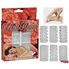 Набор из 6 насадок с шипиками Red Roses  Набор из 6 эрекционных насадок прозрачного цвета на мужской половой орган.