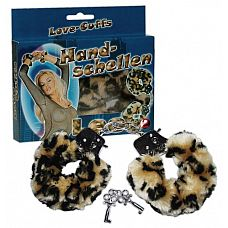 Леопардовые меховые наручники  Love Cuffs Leo   Металлические наручники в меховой съемной оболочке.