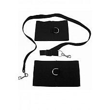 Чёрный комплект  S M ANKLE, WRIST AND TETHER 3PC KIT - 2 манжеты и поводок  В комплект входят мягкие,  удобные  и эластичные манжеты (на руки и ноги), а также черный поводок.