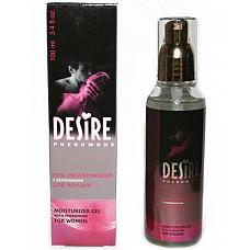 Гель-смазка с феромонами женская  DESIRE, 100 мл.  Использование геля с феромонами усиливает и продлевает удовольствие, заменяет натуральную смазку, способствует более легкому скольжению. <br>Гель отличается уникальным составом на водной основе, не имеет противопоказаний, усиливает возбуждение, увлажняет кожу половых органов.