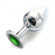 Анальная пробка BUTT PLUG  Large с светло-зеленым кристаллом - 9,5 см.  Каждая характеристика этой анальной пробки идёт с приставкой «экстра».
