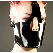 Намордник из лакированной кожи  Необычный намордник ручной работы имеет прорези для глаз и носа.