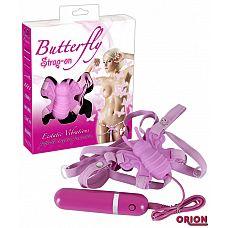 Розовая вибробабочка на регулируемых ремешках BUTTERFLY  Клиторальный стимулятор, продуманный до мелочей  Клиторальный стимулятор в форме бабочки с рельефным тельцем и стимулирующими усиками.