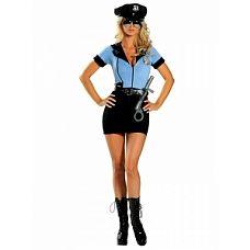 """Костюм """"Грязный коп"""" синий 02232L-XL  Посмотрите на новогодний костюм полицейского «грязный коп» - ну, чем не образ для карнавала? Платье в стиле «форма», с узкой юбкой и голубым рубашечным верхом на молнии, значок и ремень создают цельный образ с определенным характером."""
