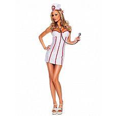 """Костюм """"Медсестричка"""" белый 02206L-XL  Халат на молнии, великолепно облегающий и подчеркивающий линии фигуры, ярко-красная отделка, кокетливая шапочка   купить этот костюм медсестры можно для костюмированной вечеринки или взрослой ролевой игры."""
