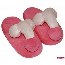 Домашние тапочки с пенисами  Розово-красные тапочки из плюша с пенисом и яичками сверху.
