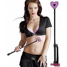 Розово-чёрная шлёпалка-сердечко Bad Kitty - 45 см.  Кто-то здесь себя плохо вел? Незаменимый атрибут эротических игр - совмещение строгости нежности в прекрасной шлепалке Bad Kitty.
