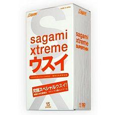 Ультратонкие презервативы Sagami Xtreme SUPERTHIN - 15 шт.  Невидимая защита, презервативы-призраки  Называйте их как угодно, но факт остаётся фактом   латексные кондомы Sagami Xtreme SUPERTHIN дарят максимально реалистичные ощущения.