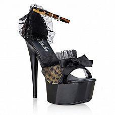 Элегантные туфельки Leopard Lace  Туфельки цвета под леопарда с черной глянцевой платформой и каблуком-шпилькой.