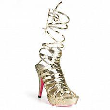Золотистые босоножки из искусственной змеиной кожи Snake Style  Золотистые красивые босоножки из искусственной змеиной кожи прекрасно подойдут к красивым платьям, шортикам и расклешенным юбкам! Босоножки с длинными шнурками из полосочек искусственной кожи, которые можно по разному распределять по ноге, добиваясь разных образов!  Высота платформы - 3,5 см, высота каблука - 12,5 см.