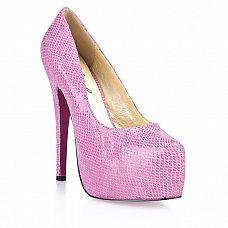 Розовые туфли  под питона  Glamour Snake  Яркие соблазнительные туфли на высоком устойчивом каблуке с роскошной отделкой под питона превратят вас в настоящую королеву гламура.