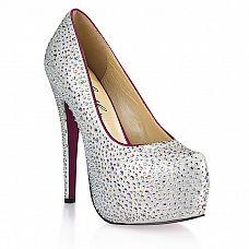 Туфли с серебристыми кристаллами Jewerly  Яркие, привлекающие к себе внимания туфли на высокой, устойчивой шпильке.