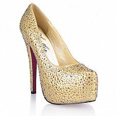 Золотистые туфли с кристаллами Golden Diamond  Яркие, привлекающие к себе внимания туфли на высокой, устойчивой шпильке.
