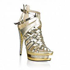 Золотые лаковые босоножки со стразами  Босоножки глянцевого золотого цвета из искусственной кожи.