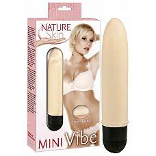 Классический мини-вибратор Natur Skin Mini Vibe - 13 см.  Классический мини-вибратор из мягкой киберкожи телесного цвета.
