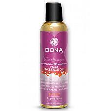 Массажное масло с феромонами DONA Sassy Tropical Tease - 125 мл.  Расслабляйтесь и наслаждайтесь моментом удовольствия с массажным маслом DONA Scented Massage Oil Sassy Aroma Tropical Tease с ароматом  Страсть .