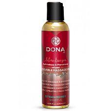 Массажное масло DONA Strawberry Souffle с ароматом клубничного суфле - 125 мл.  Вкусовое массажное масло  DONA Kissable Massage Oil Strawberry Souffle - Клубничное суфле.