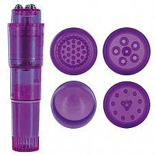 Фиолетовая виброракета с 4 насадками MULTI STIMULATOR CANDY PIE PURPLE PULSY  Фиолетовая виброракета с 4 насадками MULTI STIMULATOR CANDY PIE PURPLE PULSY.