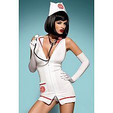 Игровой костюм доктора скорой помощи Emergency dress  Костюм сексуальной медсестры из 4 частей выполнен из мягкой эластичной ткани белого цвета, отлично облегающей тело и невероятно приятной на ощупь.