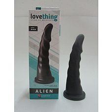 Чёрная насадка-фаллос для страпона со спиралевидным рельефом - 18 см.  Плаг для анального секса, изготовленный из ПВХ.