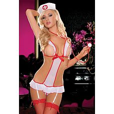 Боди  Медсестра   Откровенное боди медсестры с открытой грудью, подвязками для чулок, украшено атласным бантом.