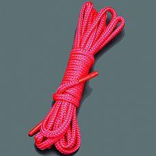 Красная веревка для связывания - 5 м.  Веревка для связывания - подходит как для новичков для простого связывания рук и ног, так и для истинных ценителей рабства.