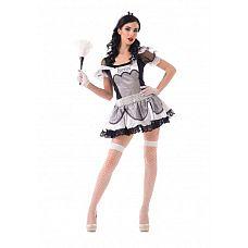 Костюм Старательной домработницы (S/M) 02908SM  Костюм состоит из:  головной убор  платье  перчатки  чулки в сетку   ! Внимание, щетка приобретается отдельно.