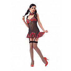 Костюм Школьницы отличницы (S/M) 02916SM  Костюм состоит из:  ленточек для волос  платья  галстука  чулок в сетку
