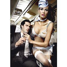 Игровой костюм улётной стюардессы: топ, мини-юбка, шарф, значок и пилотка  Длинноногая прелестница в полупрозрачной униформе из мелкой сетки в крапинку сделает потрясающим любой полёт!  Подчеркнув красоту своего тела с помощью топа со значком и мини-юбки, она разбудит самые откровенные фантазии пассажира.