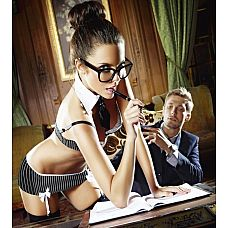Игровой костюм сексуальной секретарши: топ, мини-юбка, воротничок и галстук  Игровой костюм сексуальной секретарши.