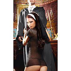 Игровой костюм очаровательной монашки: мини-платье и головной убор  Трудно не поддаться блуду, когда рядом эта очаровательная монашка в чёрном платье, облегающем фигуру.