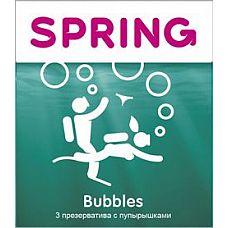 Презервативы SPRING BUBBLES с пупырышками - 3 шт.  Презервативы SPRING BUBBLES с пупырышками.