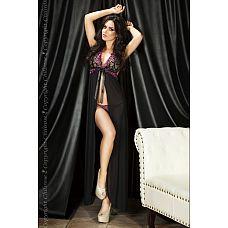 Роскошный пеньюар  Царица ночи   Женственный и сексуальный пеньюар, в котором Вы будете ослепительны! Утонченная и изысканная модель с кружевным лифом сделает каждую девушку роскошной и сексуальной! Необычная длина в пол эффектно подчеркивает стройные ноги.