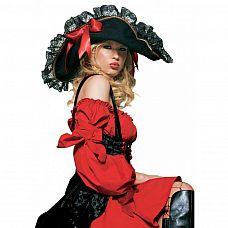 Роскошная пиратская шляпа с кружевами и бантом  Шляпа с кружевом на полях и красными атласными бантиками.