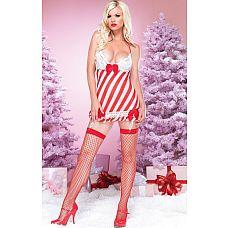 Прелестная сорочка в новогоднем стиле  Полосатый новогодний пеньюар с кружевным бюстом, атласными бантиками, подтяжками для чулок и стринги.