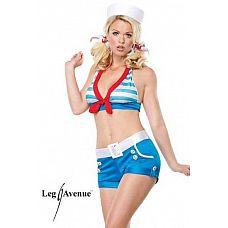 Костюм бравой морячки  Сексуальный костюмчик морячки: короткий топ, шорты, пояс и шапочка.
