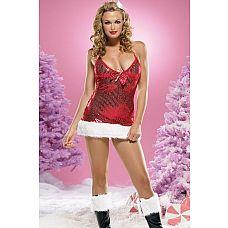 Новогоднее мини-платье с меховой отделкой  Блестящее мини-платье красного цвета с бантиком и белой меховой оборкой.