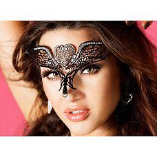 Черная ажурная маска   Роскошная маска жрицы любви околдовывает и привлекает внимание.